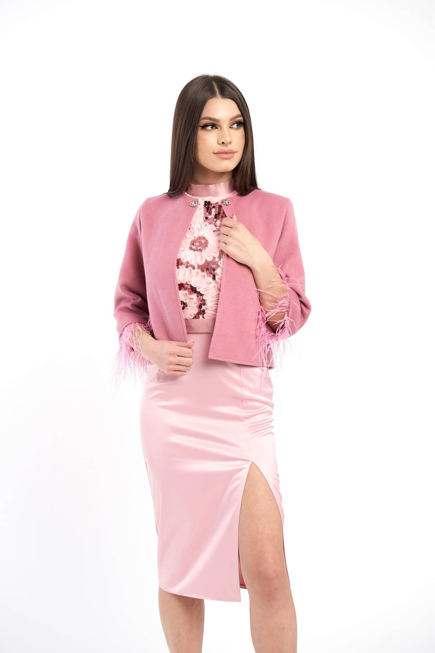 sacou modalaselva roz scurt stofa produs in Romania